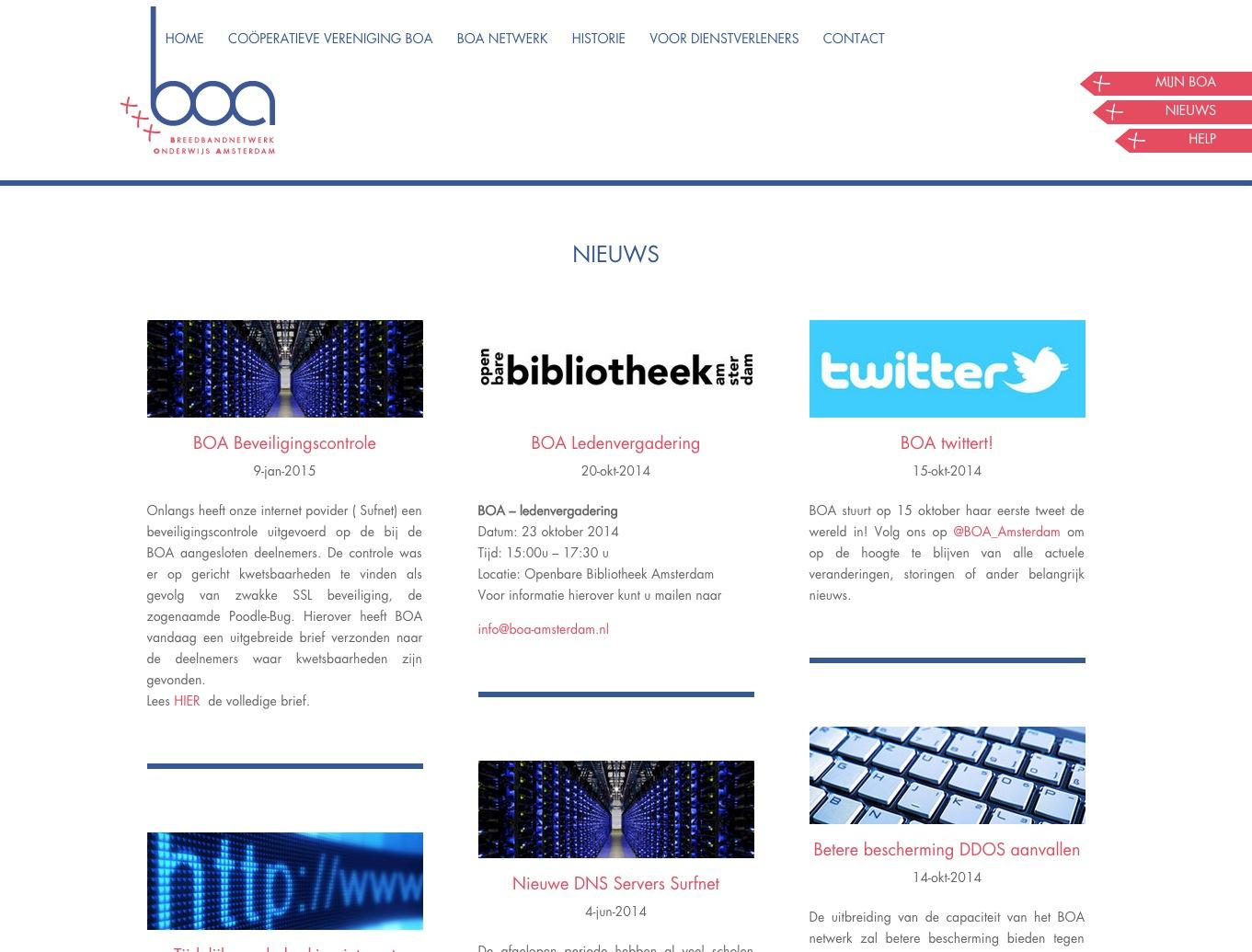 Boa Amsterdam website van psd op maat gemaakt