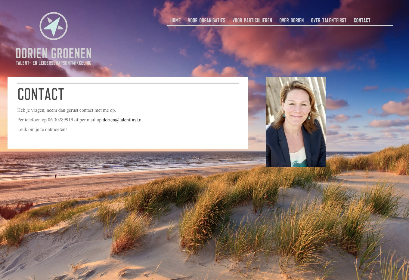 WordPress voorbeeld website Coach