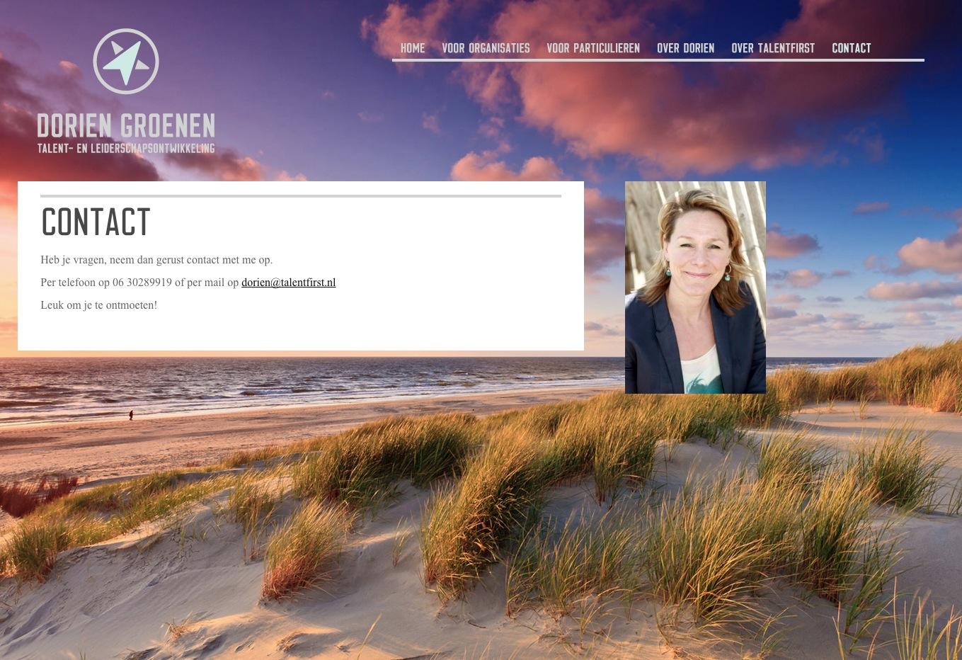 WordPress voorbeeld website Coach