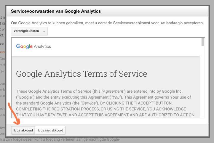 google_analytics_voorwaarden_wordpress_akkoord