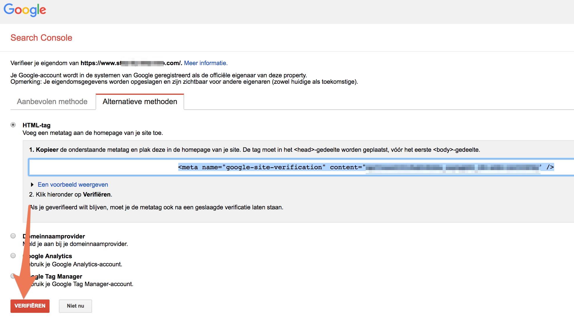 verificatie google search console-wordpress
