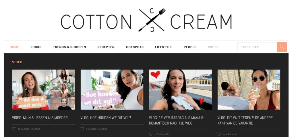 succesvolle blog voorbeeld cotton cream