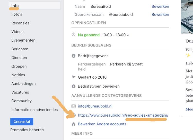 facebook seo beter vindbaar link in profiel