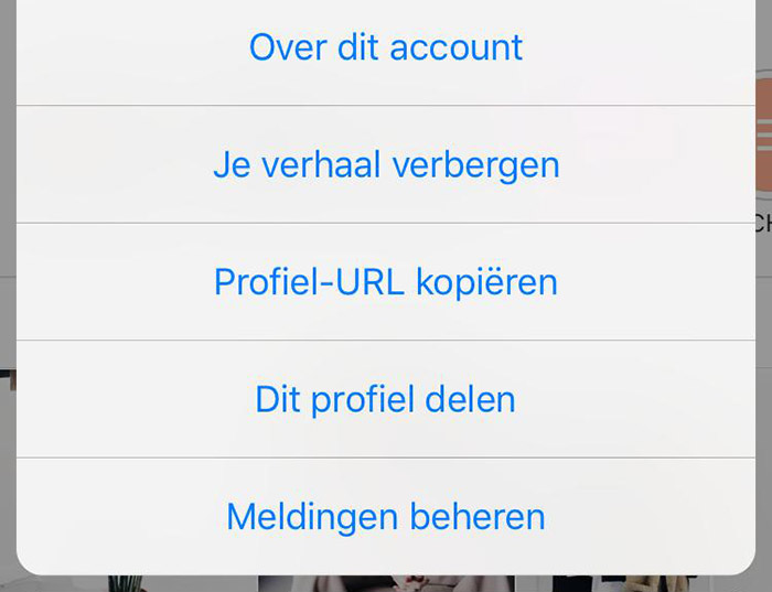 Notifications aanzetten voor een Instagram account