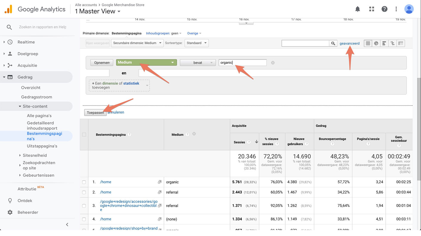 Organic search in google analytics