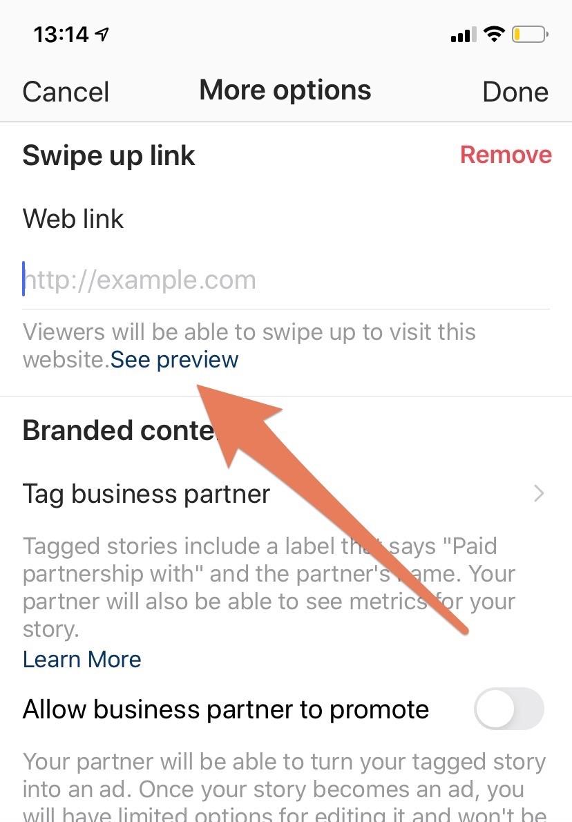Swipe Up link toevoegen