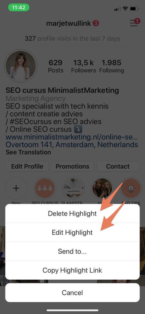 hoogtepunt bewerken of verwijderen op instagram