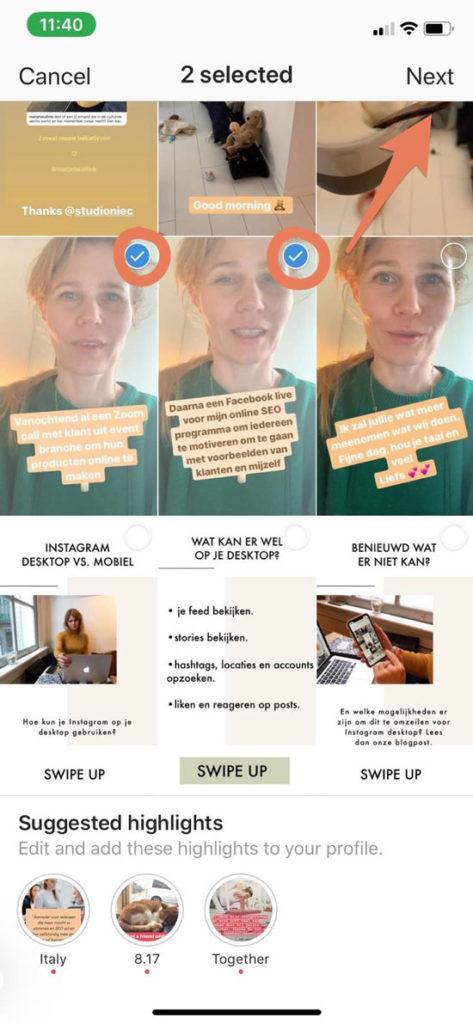 Hoogtepunt toevoegen aan je Instagram profiel