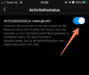 Instagram online status uitschakelen